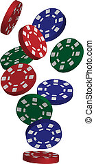 Poker Chips - Illustration of Falling Red, Blue and Green...