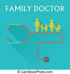 illustration of family doctor in flat design