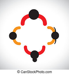 Illustration of family of father, mother, daughter & son together. The colorful graphic contains parents in red and their children in orange color forming a nuclear family.