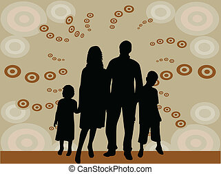 illustration of family silhouettes - vector