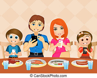 family with cell phone at table - illustration of family...