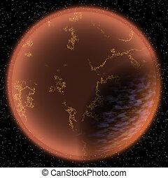 Illustration of fantasy planet