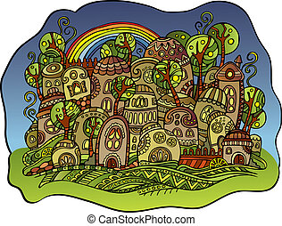 fairy-tale drawing town