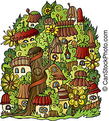 fantasy vector fairy-tale drawing town - Illustration of...