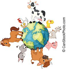 Farm Animal standing around the world