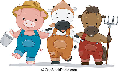 Farm Animals - Illustration of Farm Animals dressed as ...