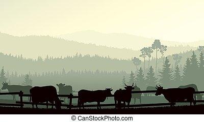 Illustration of farm pets - Horizontal vector illustration...