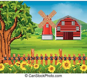 farm with red barn and flower