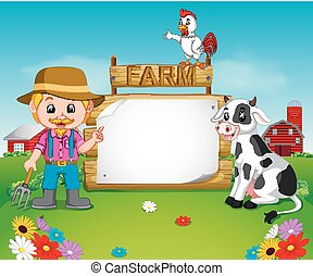 farmer with a blank wooden sign