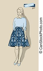 illustration of fashion girls hipsters - illustration of...