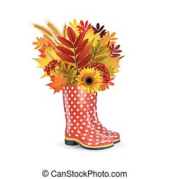 Illustration of fashion red dotted rubber boots, bouquet of autumn leaves.