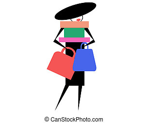 fashion - illustration of fashionable woman carrying...