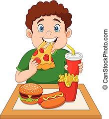 Fat boy eating junk food - Illustration of Fat boy eating...