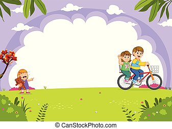 Father and mother cycling with daughter crying in the city park