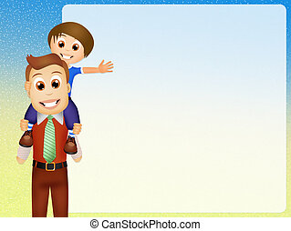 illustration of father and son
