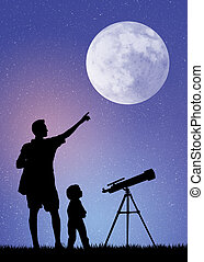 father and son looking in the telescope - illustration of ...
