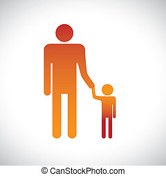 Illustration of father & son holding together. This graphic represents the bonding between a parent and child with father holding/guiding his child
