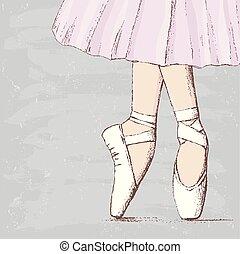Illustration of feets of ballerina on pointe