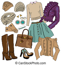 illustration of female fashion collection clothes