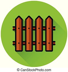 fence circle flat green icon