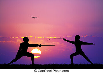 Illustration of fencing at sunset