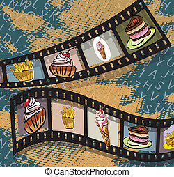 Illustration of film strips with photos of food on blue background . Clip-art, Illustration.