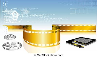 Film with clap board - Illustration of Film with clap board