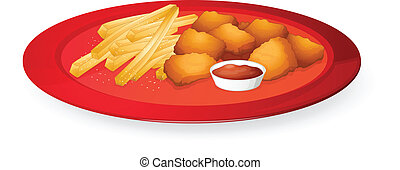 illustration of fingerchips and bread cubes in a dish on a white background