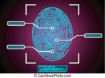 Fingerprint Scanning Identifica - Illustration of...