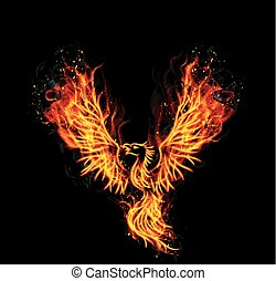 Illustration of Fire burning Phoenix Bird with black background