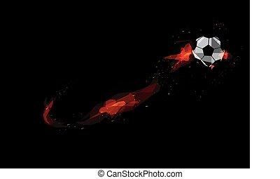 Fire burning Soccer ball