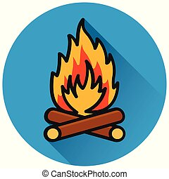 fire circle flat blue icon
