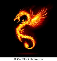 Fire Dragon - Illustration of Fire Dragon with Wings Symbol ...