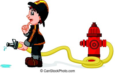 fireman holding a yellow water hose