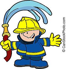 Illustration of fireman holding water hose