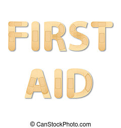 first aid - illustration of first aid on white background