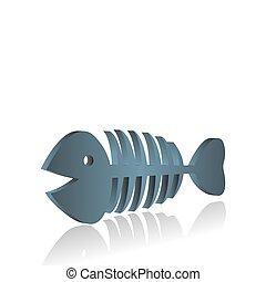 illustration of fish bones on white background