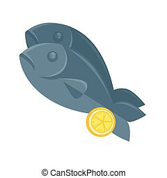 Illustration of fish with lemon in cartoon style.