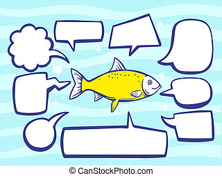 illustration of fish with speech comics bubbles on blue p