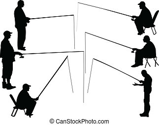 fisherman collection - vector - illustration of fisherman...