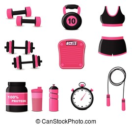 fitness icons on white background