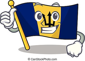 Illustration of flag barbados while making Thumbs up gesture