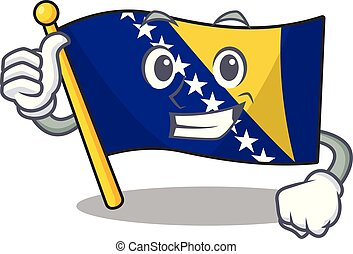 Illustration of flag bosnia while making Thumbs up gesture