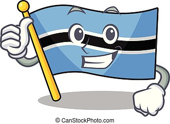 Illustration of flag botswana while making thumbs up gesture