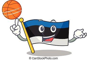 Illustration of flag estonia cartoon style with basketball
