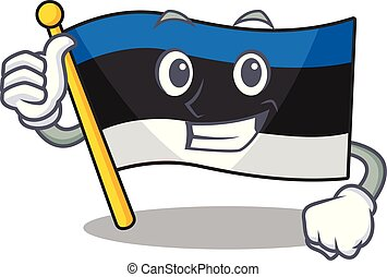 Illustration of flag estonia while making Thumbs up gesture