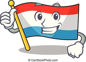 Illustration of flag luxembourg while making Thumbs up gesture