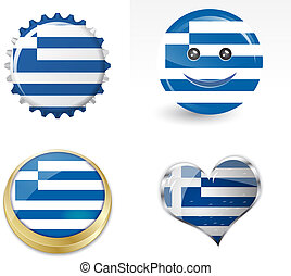 flag of greece in various shapes