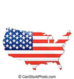 illustration of flag of united states of america in shape of geographical map