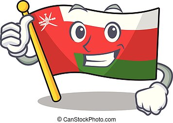Illustration of flag oman while making Thumbs up gesture